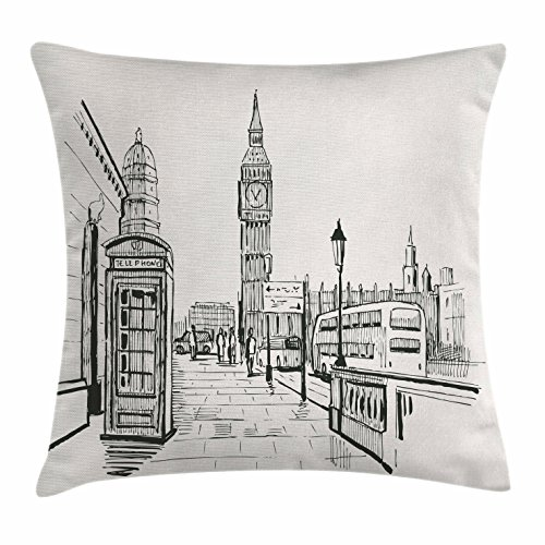 Modern Throw Pillow Cushion Cover by Ambesonne, London City with Big Ben Monument Scene in Sketch Style British Famous Town Artwork, Decorative Square Accent Pillow Case, 18 X 18 Inches, Grey Cream (London Themed Pillows)