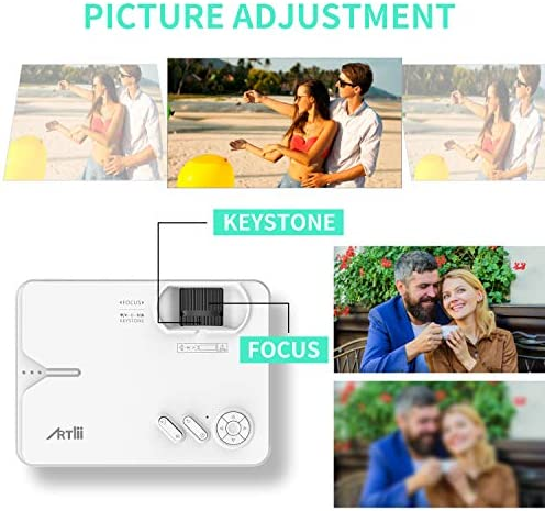 """Mini Projector - Artlii Enjoy 2 WiFi Bluetooth Projector, Native 1280x720P, Supports Full HD 1080P, 5500L 300"""" Display, Compatible with Android, iPhone, Laptop, TV Stick, PS5"""