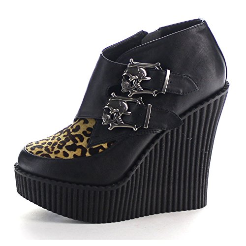 Demonia V Pony Printed Leather Creeper Blk 306 tan Leopard vwrOvqUt