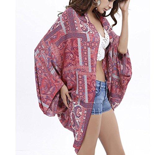 Zhhlinyuan Mujeres Vintage Bohemian Blouse Seaside Sunscreen Shawl Wrap Beach Cape Outerwear
