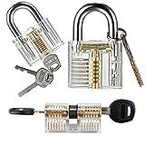 Tools & Hardware : Sopoby Practice Lock Set, Transparent Training Cutaway Crystal Pin Tumbler Keyed Padlock for picking, 3-pack Common Locks for Locksmith Beginner