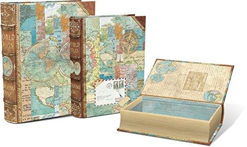 Punch Studio Home Decor Large Nesting Book Boxes  World Atlas