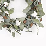 FAVOWREATH-2018-Vitality-Series-FAVO-W48-Handmade-15-inch-Green-LeafCotton-Grapevine-Wreath-For-SummerFall-Festival-Celebration-Front-DoorWallFireplace-LaurelEucalyptus-Hanger-Home-Relaxed-Decor