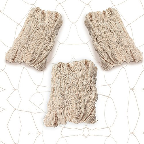 Natural Net - Natural Cotton Fish Net, FIshnet Decor, Great Hawaiian and Beach Party Accessory, Pack of 3 Fishnet, By 4E's Novelty