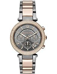 Michael Kors MK6440 Womens Parker Two-Tone Rose Gold Gunmetal Chronograph Watch