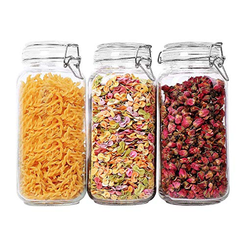 (ComSaf Airtight Glass Canister Set of 3 with Lids 78oz Food Storage Jar Square - Storage Container with Clear Preserving Seal Wire Clip Fastening for Kitchen Canning Cereal,Pasta,Sugar,Beans,Spice)