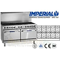 """Imperial Commercial Restaurant Range 60"""" With 10 Burners 2 Standard Ovens Natural Gas Model Ir-10"""