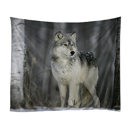 Adarl Psychedelic Natural & Mandala Style Hanging Wall Tapestries Square Gypsy Full-Polyester Tapestry Table Cover Bedspread Beach Towel Tapestry (Lonely Wolf) (Wolf Mandala)