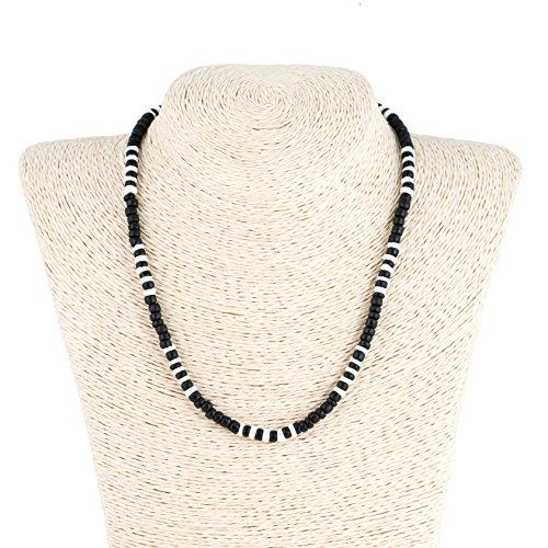 ut Wood Beads Necklace with Puka Shells ()