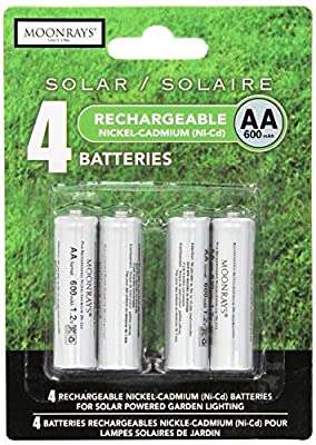 Moonrays 97125 Rechargeable NiCd AA Batteries for Solar-Powered Lights, 4-Pack