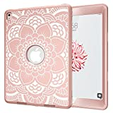 iPad Pro 9.7 Case, A1673/A1674/A1675 Hocase Rugged Shock Absorbent Dual Layer Hard Rubber Protective Case with Cute Flower Pattern for iPad Pro 9.7-inch 2016 - Rose Gold