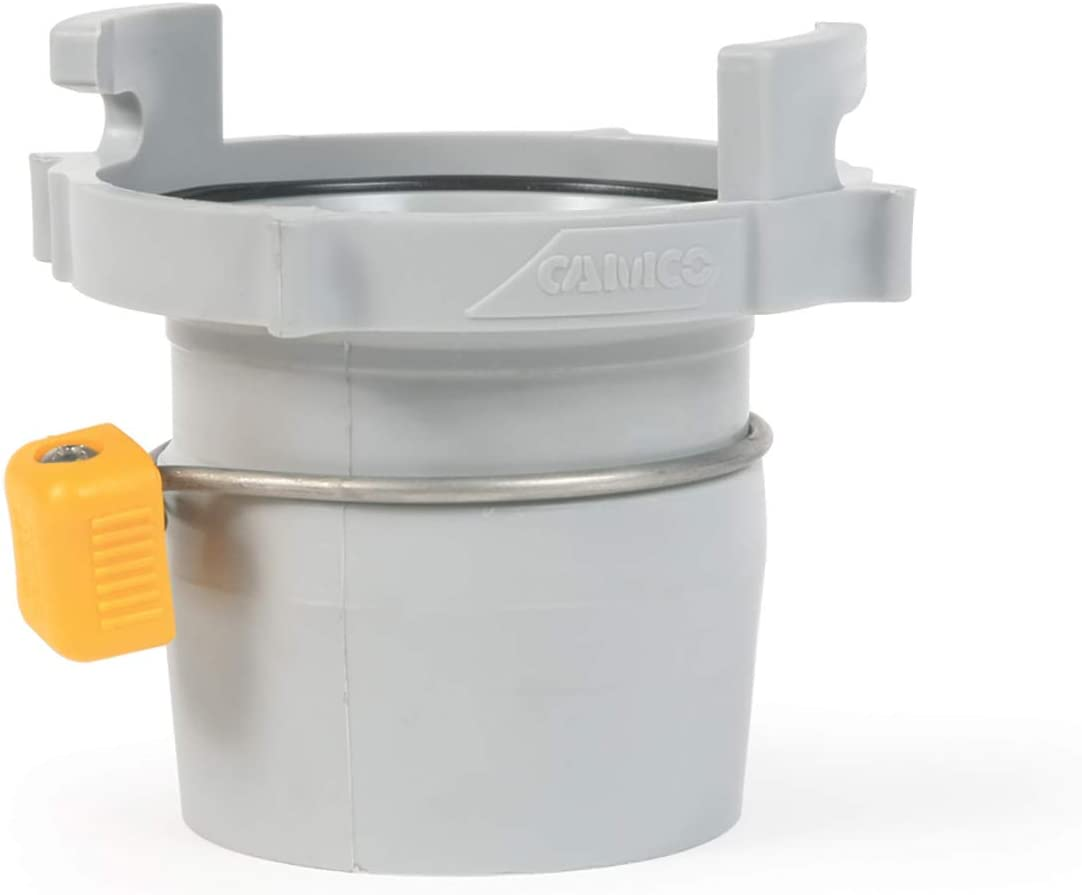 """Camco Easy Slip Straight Hose Adapter with Slip-Lock Rings - Securely Connects Your Sewer Hose to RV and Stores with Sewer in Standard 4"""" Bumper (39173),White"""