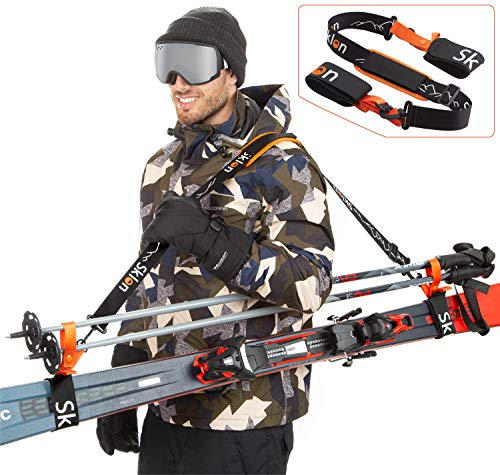 Sklon Ski Strap and Pole Carrier | Avoid The Struggle and Effortlessly Transport Your Ski Gear Everywhere You Go | Features Cushioned Shoulder Sling | Great for Families - Men, Women and Kids - Orange