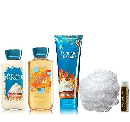 Jarosa's Deluxe 5 Piece Gift Set of Bath & Body Works PUMPKIN CUPCAKE - Body Lotion, Shower Gel, Ultra Shea Body Cream & Shower Puff with a Jarosa Bee Organic Chocolate Bliss Lip (Pumpkin Gift)