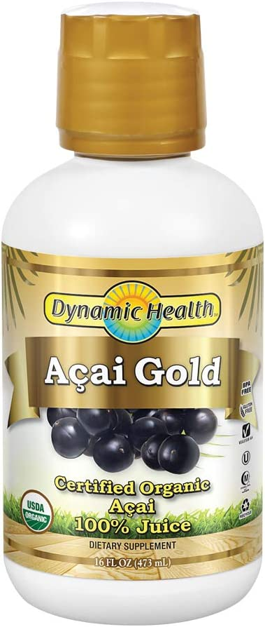 Dynamic Health Acai Gold | Organic Acai 100% Juice | Vegetarian, No Gluten or BPA, Dietary Supplement | 16oz