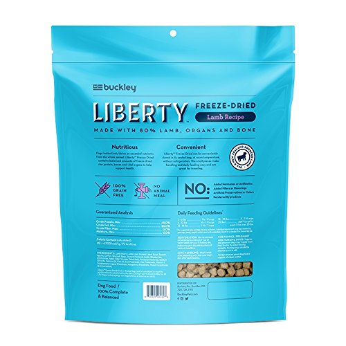 Buckley Liberty Freeze Dried Dog Food/Food Topper and Mixer, Lamb, 20 Ounce
