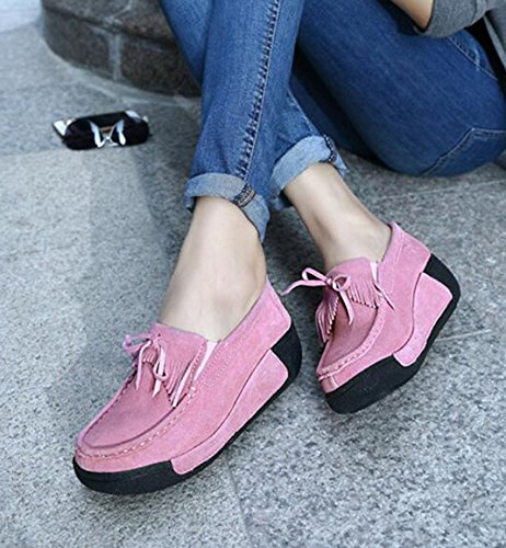 Pink Loafers Platform Sneakers Casual Shoes Tassels knot GFONE Bow Running On Suede Women's Slip Breathable Fitness Wedge 8vqCa0