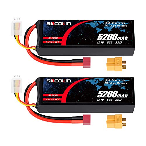 Socokin 3S 5200mAh 60C 11.1V RC Lipo Battery (2 Pack) with Deans T and XT60 Plug for RC Model Redcat Racing, RC Racing Car Heli Airplane Quadcopter Helicopter etc