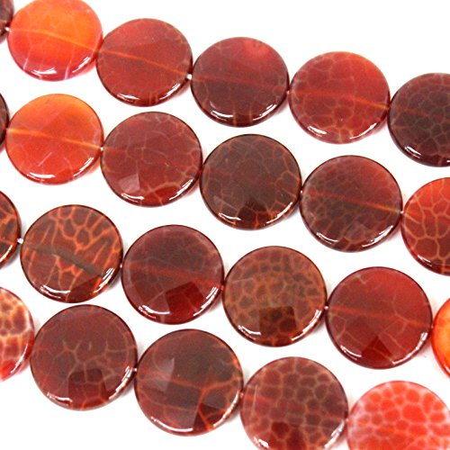 fashiontrenda Faceted Natural Fire Agate Flat Coin 20mm Gemstone Loose Beads