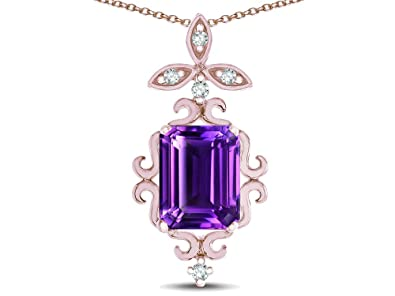 6ddc59059 Star K Antique Vintage Design Octagon Cut Genuine Amethyst Pendent Necklace  14 kt Rose Gold
