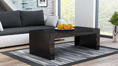 MILANO Coffee Table – Black Matte body in contrast with High Gloss finish of the laterals (Black & Black) - Concepts Black Rectangular Rug