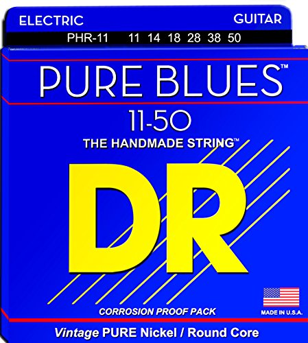 DR Strings Pure Blues Pure Nickel Wrap Round Core 11-50 Nickel Wrap Electric Guitar Strings