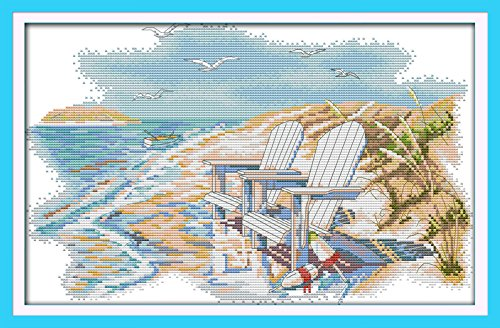 Happy Forever Cross Stitch Scenery, a quiet beach f665