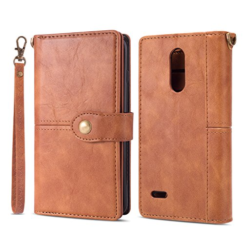LG Aristo 2/Aristo 2 Plus/K8 Plus/K8+/K8 2018/Rebel 2/Phoenix 3/Fortune  2/Risio 2 Case Wallet Case,Ankoe Vintage Leather Folio Flop Secure Fit