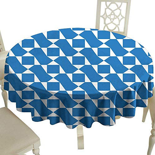 cashewii Dustproof Tablecloth Blue Color Geometric Pattern - Background Wallpaper Great for Buffet Table - Asian Table Mahogany