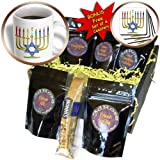 Lee Hiller Designs Judaica - Judaica Chanukah Hannukah Rainbow Candles Menorah - Coffee Gift Baskets - Coffee Gift Basket (cgb_107250_1)