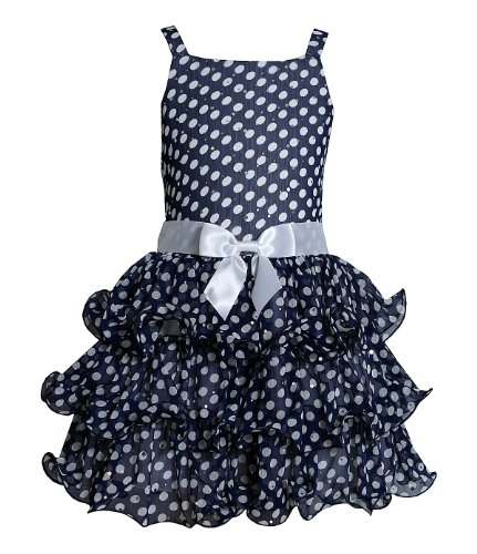 Bonnie Jean Girls Chiffon Spangled Easter Spring Dress , Navy (16 with Bracelet for ()