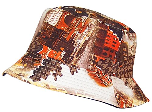 Tropic Hats Cityscape & Houndstooth Soft Bucket Hat (One Size) - Brown/Orange