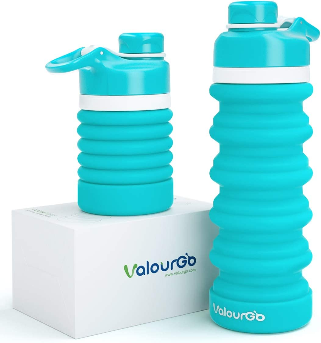 Botella de agua plegable Valourgo, sin BPA, de silicona, a prueba de fugas, portátil, para camping, senderismo, 550 ml, aguamarina