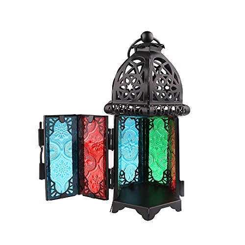 AOZBZ Retro Moroccan Candle Holder Hanging Lantern Windshield Colored Glass Candlestick-Black