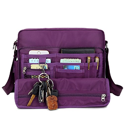 Crossbody Handbags, Urmiss(TM) Waterproof Nylon Shoulder Messenger Bag Multi Pocket Small Crossbody Bag for iPad/Tablet for Women, Purple by Urmiss