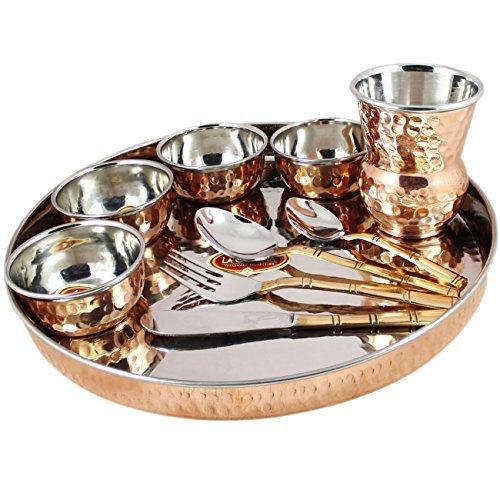 Indian Dinnerware Set Copper Stainless Steel Dinner Plate, Bowls, Tumblers, Flatware Cutlery Set (Stainless Thali Steel Set)