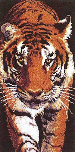 M C G Textiles Latch Hook Kit, 22-Inch by 44-Inch, Prowling Tiger