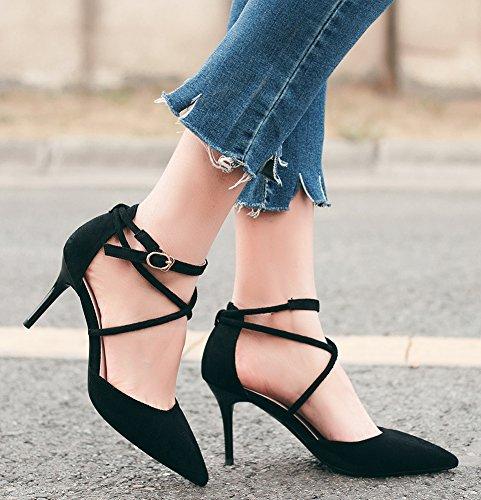 162e5f27ba9ed ... Idifu Femmes Bandage Sexy Croix Mi-talon Escarpins Pompes Chaussures  Avec Bride À La Cheville