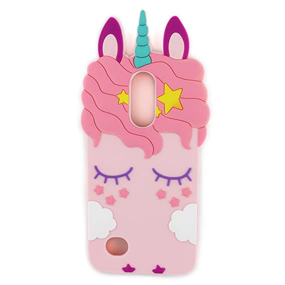 LG Aristo Case/LG Phoenix 3 / LG Fortune/LG Risio 2 / LG Rebel 2 Case 3D Cute Cartoon Unicorn Eyelash Horse Animal Soft Silicone Rubber Protector Skin ...