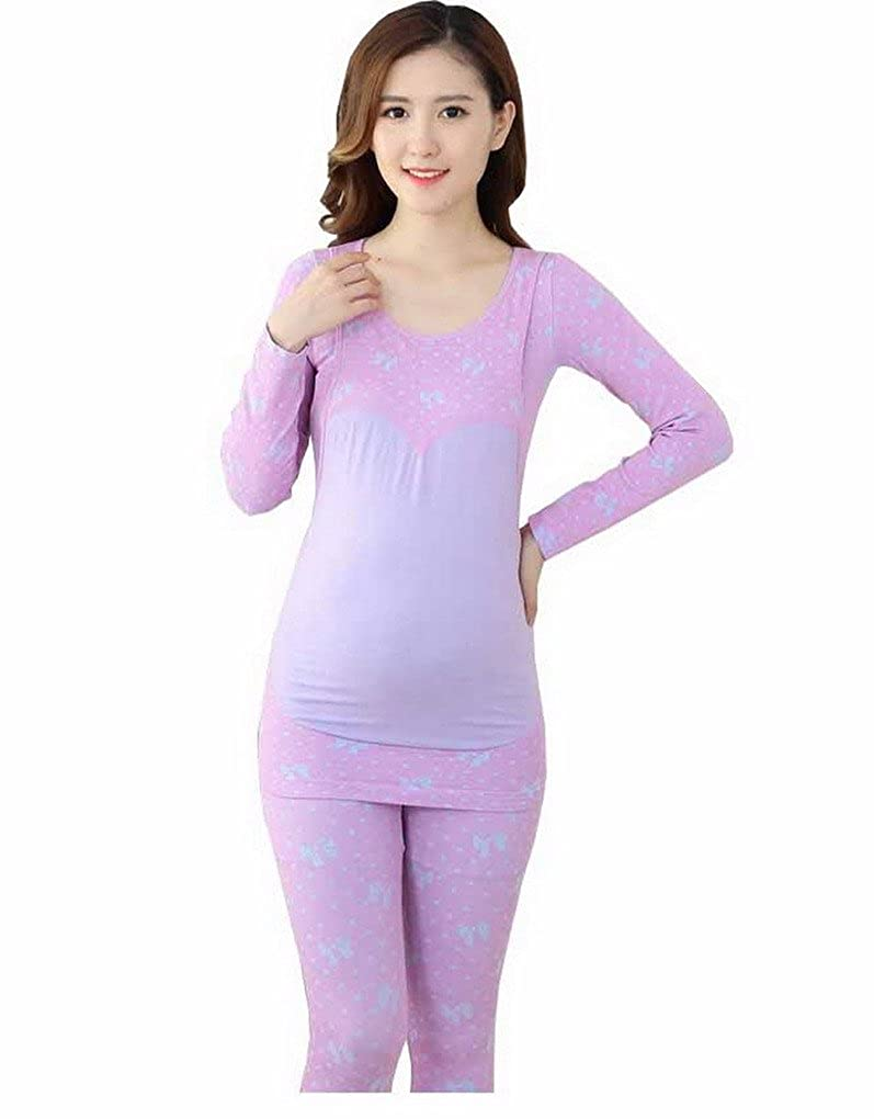 Maternity Clothes Long Sleeves Scoop Neck Pajama Thermal Underwear Set Evedaily