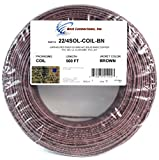 500' Feet Brown 22 Gauge AWG 4 Conductor Solid Copper Alarm Wire Security Cable