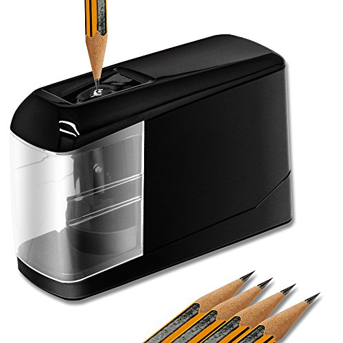 Electric Pencil Sharpener, Lovin Product Durable & Portable Pencil Sharpener; Fast Sharpen, Auto Stop Feature, USB/Battery Powered Pencil Sharpeners for School, Office, Classroom, Black