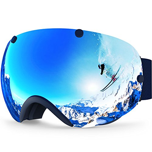 Zionor XA Ski Snowboard Snow Goggles for Men Women Anti-Fog UV Protection Spherical Dual Lens Design (VLT 18.5% Black Frame Silver Lens)