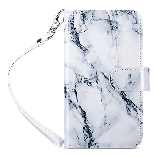 ULAK Galaxy S7 Case, Magnetic Premium PU Leather Flip Wallet Case Stand Folio Cover with Built-in 9 Slots and Wrist Strap for Samsung Galaxy S7 (5.1 inch)(Artistic Marble Pattern) Will not Fit S7 Edge