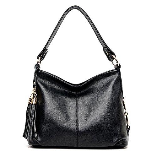 Sanxiner Women's Leather Shoulder Bag Cross Body Bags Top Handle Handbags Purse (A-Black) by Sanxiner