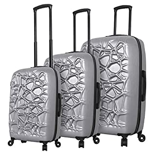 Mia Toro Italy Web Hard Side Spinner Luggage 3 Piece Set, Silver, One Size
