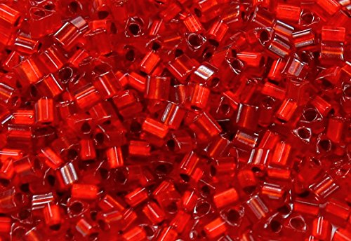 11/0 Triangle TOHO Japanese Glass Seed Beads # 25CF-Silver-Lined Frosted Ruby 15g