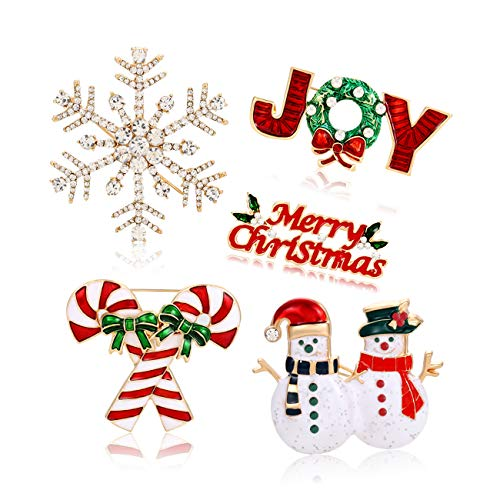 Christmas Brooch Pins Including Marry Christmas Joy Snowflake Christmas Candy Cane Snowman Brooch Xmas Christmas Holiday Party Gifts for Women Girls Kids