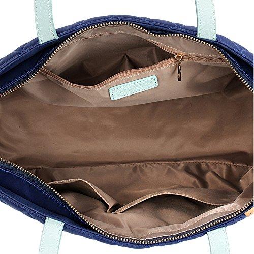 Yvonnelee Hochwertige Women Tote Bag Schultertasche Handtasche Henkeltasche Tasche für Damen und Frauen aus Nylon und Rindleder YKK Reißverschluss Gute Verarbeitung Fach auf der Frontseite Blau