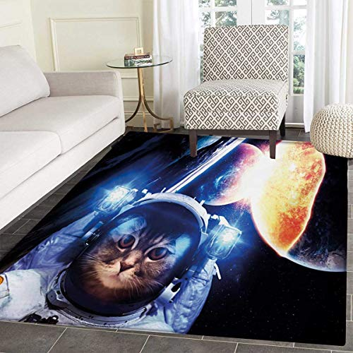 - Space Cat Floor Mat Kids Kitten Space Suit Planets Nebula Supernova Eclipse Artwork Door Mat Increase 36